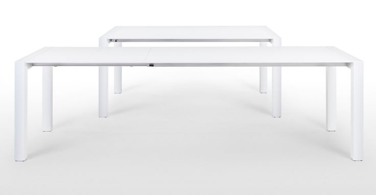 The Bramante white extending dining table brings an ultra sleek, minimalist look to any dining room.