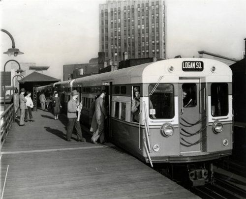 """Logan Square train, circa 1950, at Damen and North Avenue on what is now part of the Blue Line to O'Hare.  Chicago's beloved (and sometimes be-hated) """"L"""" system turns 120 today. More vintage photos here."""