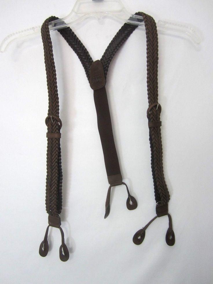 Mens Button Braces Suspenders Woven Braided Leather Brown Excellent EUC