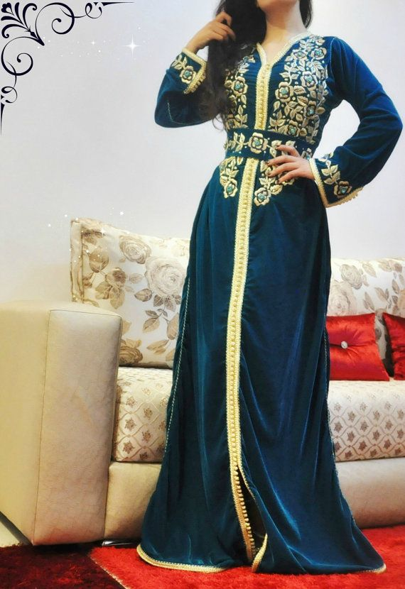 Hey, I found this really awesome Etsy listing at https://www.etsy.com/listing/262654012/green-blue-velvet-maxi-dress-moroccan