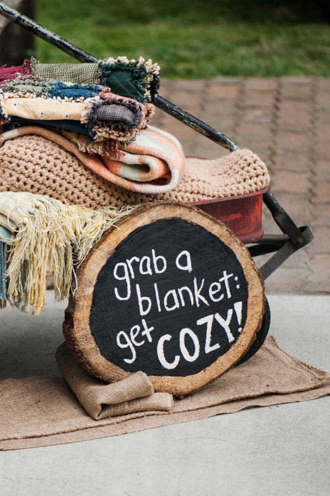 "If you are having an outdoor wedding... ""Grab a blanket and get cozy!"""