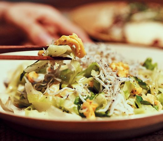 キャベツとしらすのヘルシーバター炒め◆AneCan10月号「忙しい女性の味方!パパッと作れる野菜レシピ厳選3つ」