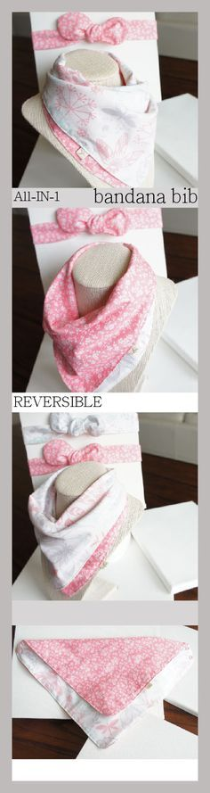 NO MORE Unstylish bibs!! All-IN-1 Baby toddler REVERSIBLE bandana bibs-scarf-drool bib/burp cloth / 100%cotton /wipe cloth/hand towel/