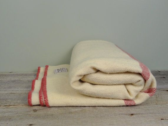 Large Vintage Pure Wool Blanket in Ivory with by TheHomeMarket