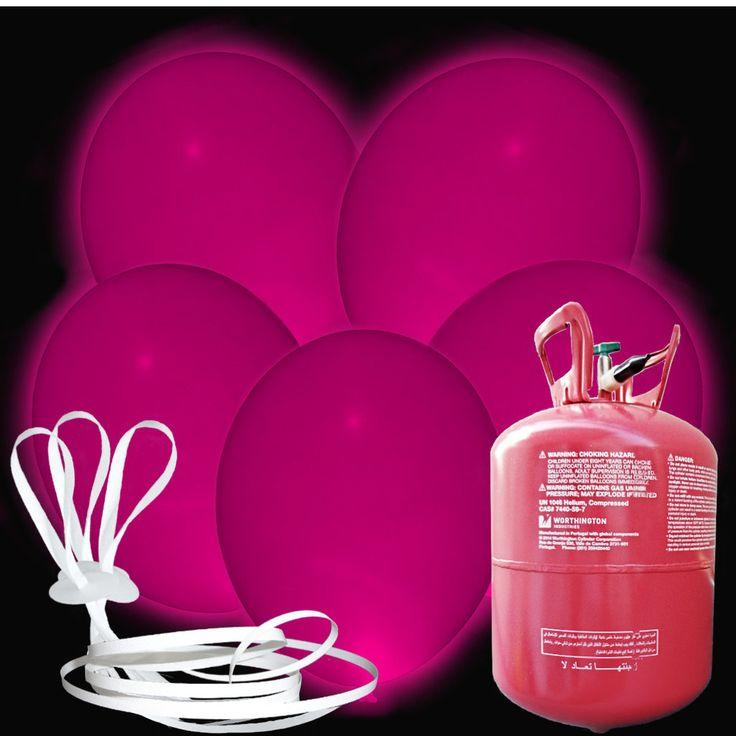 Heliumset - 15 LED Luftballons - 30cm - Pink