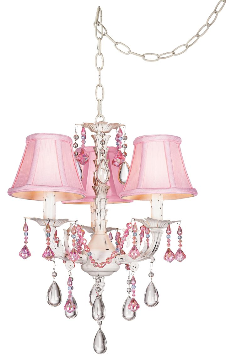Pretty In Pink Swag Style Plug In Mini Chandelier Glo