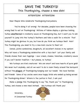 This resource includes a persuasive letter written from the point of view of a turkey!  I used it with my students to review the author's purpose (particularly of persuasion).  It also includes comprehension questions to assess author's purpose, main idea, supporting details, and context clues.