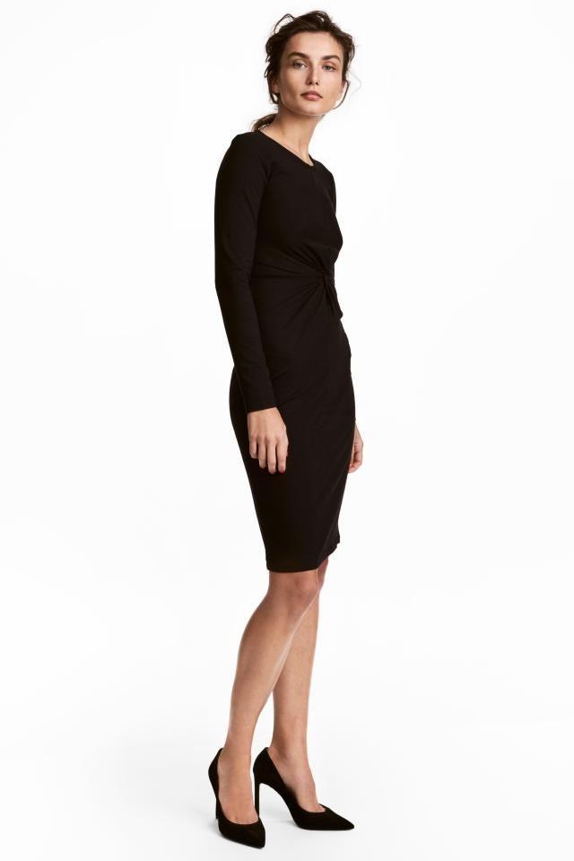 Vestido entallado en punto elástico de viscosa con mangas largas y costura  en la cintura con c0232ea4c0ae
