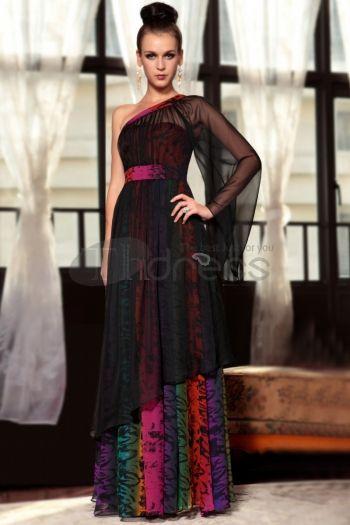 Abiti in Magazzino-tencel chiffon una spalla una manica stile unico nuovo nero di modo gonws formali da sera per le donne 30861