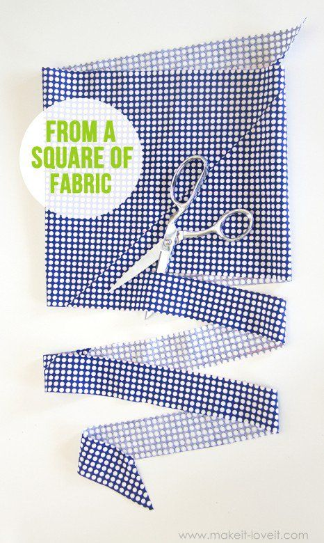 Cut a CONTINUOUS strip of BIAS TAPE (from one square of fabric)