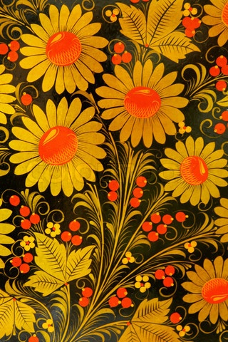 Folk Khokhloma painting from Russia. Floral pattern with berries. #Russian #folk #art #painting