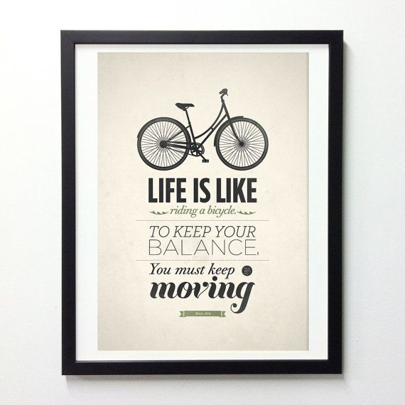 Life Quote Typography Poster  Life is like riding a by NeueGraphic