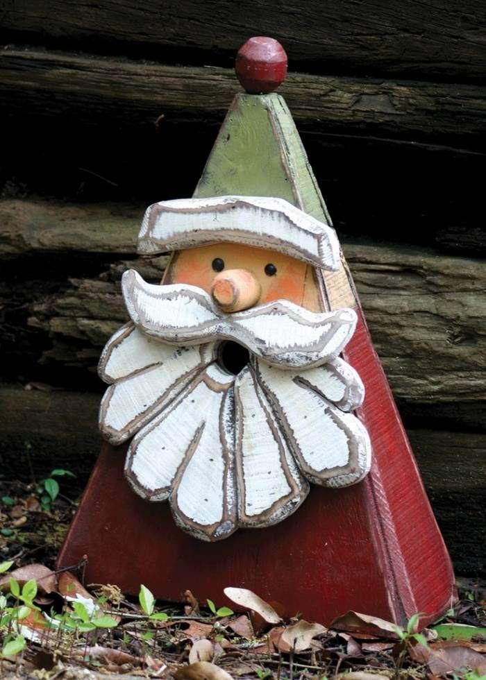 décoration de Noël en bois: figure de Père Noël pour le jardin