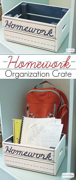 Back to School: DIY Homework Organization Crate using Americana Multi-Surface Acrylics | by @ajastro