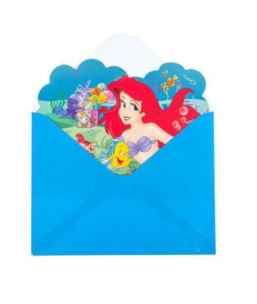 Uitnodigingen van Ariel de kleine zeemeermin voor een verjaardag of feestje. Op de uitnodigingen kunt u een persoonlijke boodschap schrijven. Incl. mooie blauwe enveloppen. Te koop bij Feestwinkel Altijd Feest.