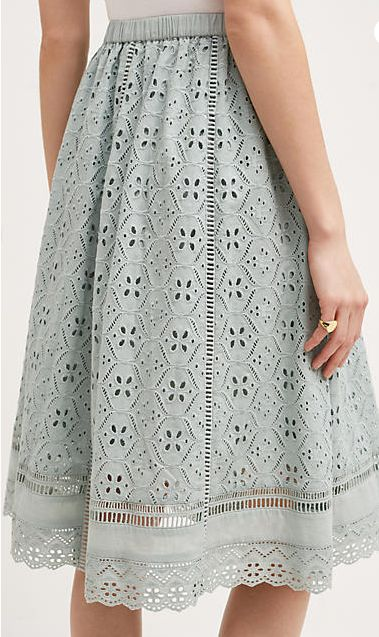 Eyelet Skirt | Light Blue | Elastic Waistband