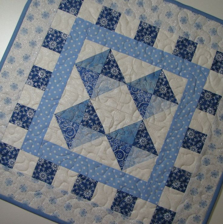 Quilted Table Topper , Quilted Candle Mat , Christmas Quilt , Blue/White/Silver Snowflakes ...