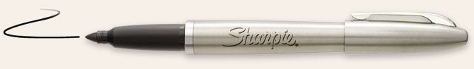 refillable sharpie permanent marker in stainless steel with black ink cartridge