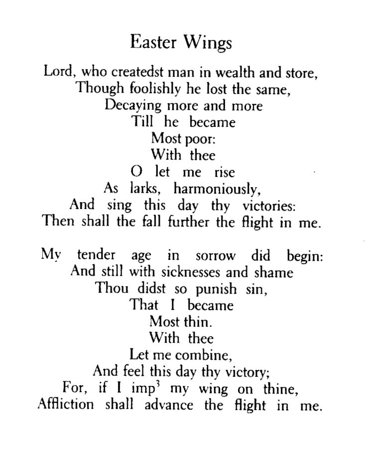 """Image result for George Herbert's poem (or poems) """"Easter Wings,"""" first printed in his collection The Temple in 1633,"""