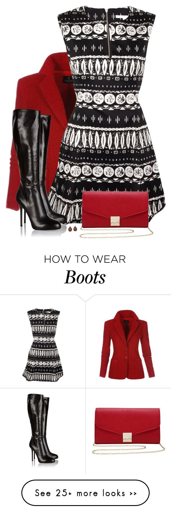 """""""Dress and Boots"""" by daiscat on Polyvore featuring Veronica Beard, M&Co, Sergio Rossi and Urbiana"""