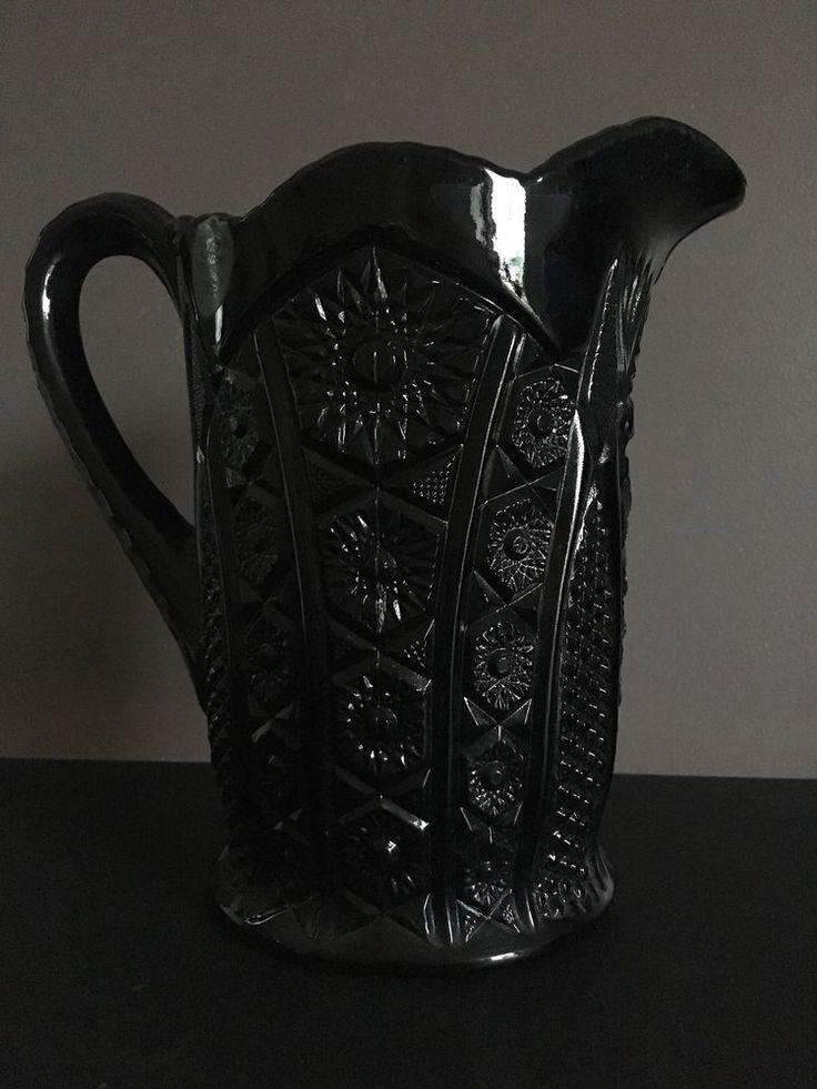 Vintage Tiara Ebony Black Glass Pitcher Monarch Pattern Indiana Glass 48 oz #Tiara