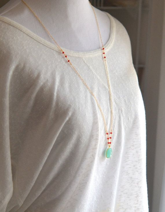 Long Aqua Chalcedony Necklace with Red Coral Beads in by RusticGem
