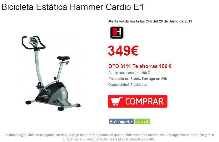 -30% Bicicleta Estática Hammer Cardio E1, en #deporvillage al mejor precio