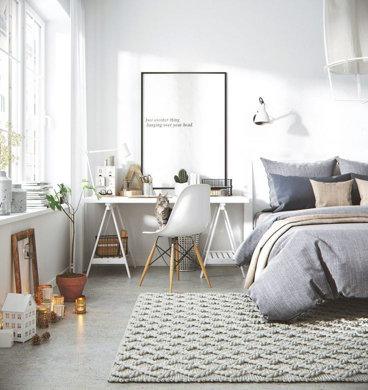 Gravity Home: Bedroom with workspace in a 3D Scandinavian apartment