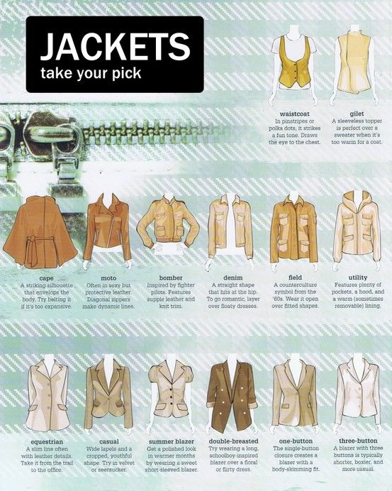 A visual dictionary of women's jackets More Visual Glossaries (for Her): Backpacks / Bags / Bobby Pins / Boots / Bra Types / Hats / Belt knots / Chain Types / Coats / Collars / Darts / Dress Shapes / Dress Silhouettes / Eyeglass frames / Eyeliner Strokes / Hangers / Harem Pants / Heels / Lingerie / Nail shapes / Necklaces / Necklines / Patterns (Part1) / Patterns (Part 2) / Puffy Sleeves / Scarf Knots / Shoes / Shorts / Silhouettes / Skirts / Tartans / Tops / Underwear / Vintage Hats…