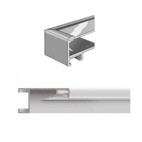 Marco de aluminio vitrinas con separador. PLATA MATE ANODIZADO