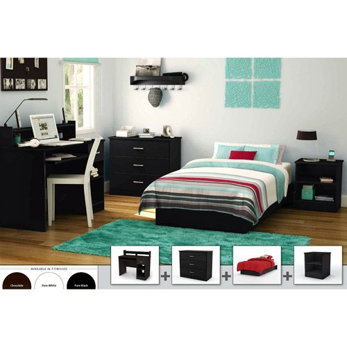 Details About White 3 Piece Storage Drawers Twin Bed Box: South Shore 4-piece Bedroom Furniture Set, Black $300 Nice