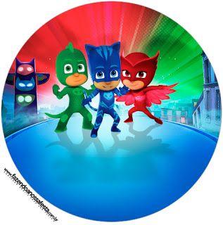 Super Héroes en Pijamas: Wrappers y Toppers para Cupcakes para Imprimir Gratis.