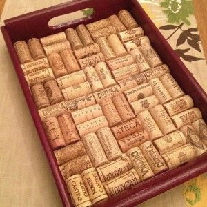 Step-by-step instruction for how to make a wine cork-lined tray.