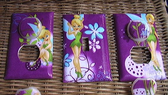 Tinkerbell Set Purple Light Switch Plate Toggle By