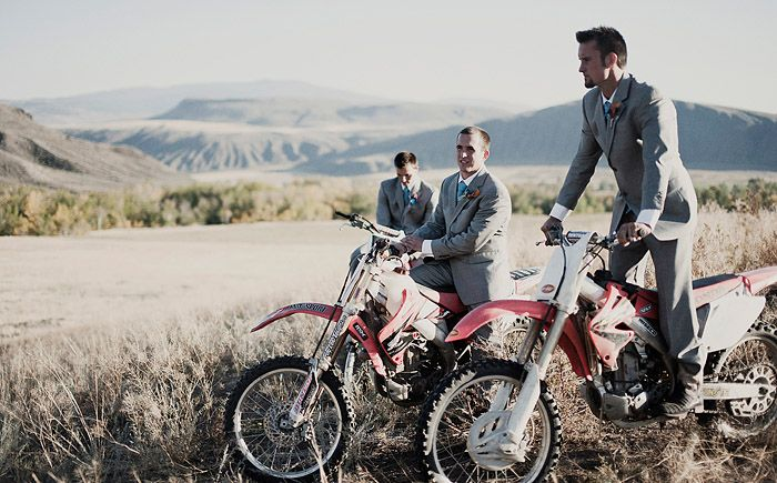 haha awesome! Groomsmen on dirt bikes.. yep! And love the grey of the suits!