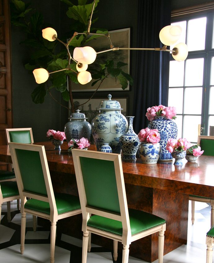 Louis XVI dining chairs reimagined with kelly green leather