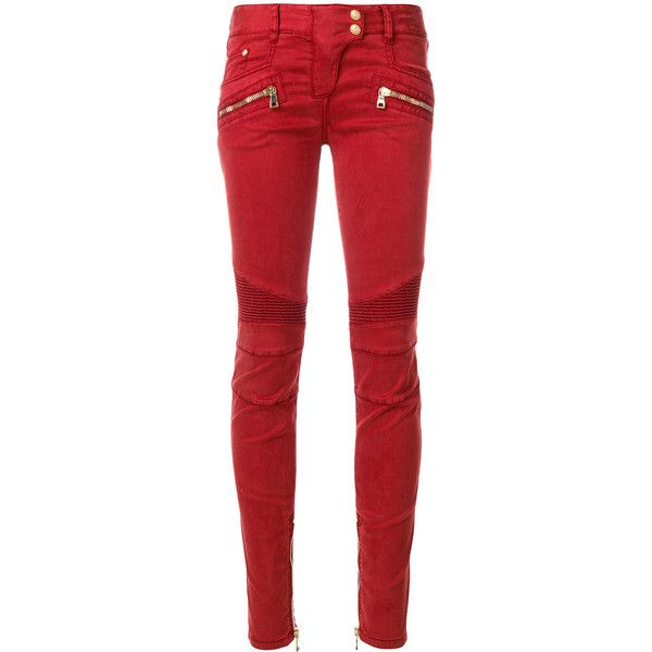 Balmain low-rise biker jeans ($1,417) ❤ liked on Polyvore featuring jeans, balmain, bottoms, pants, red, red biker jeans, biker jeans, low rise jeans and red jeans