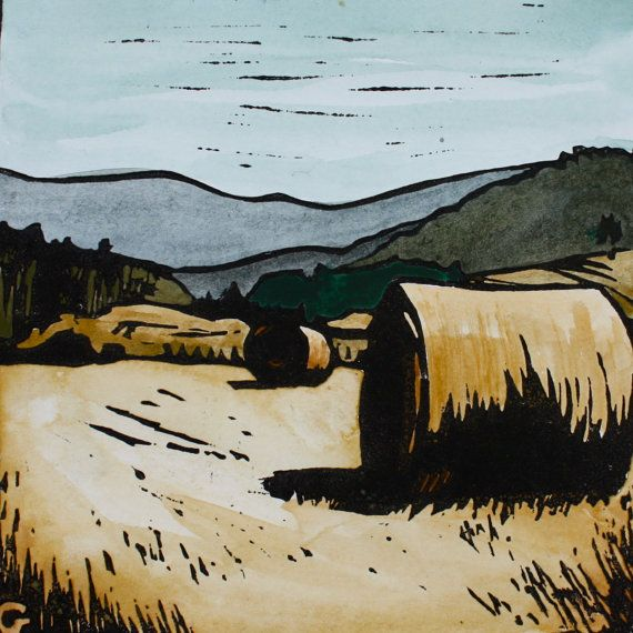 Huon Valley Hay Bales - Hand Painted Lino Print - Tasmanian Landscape