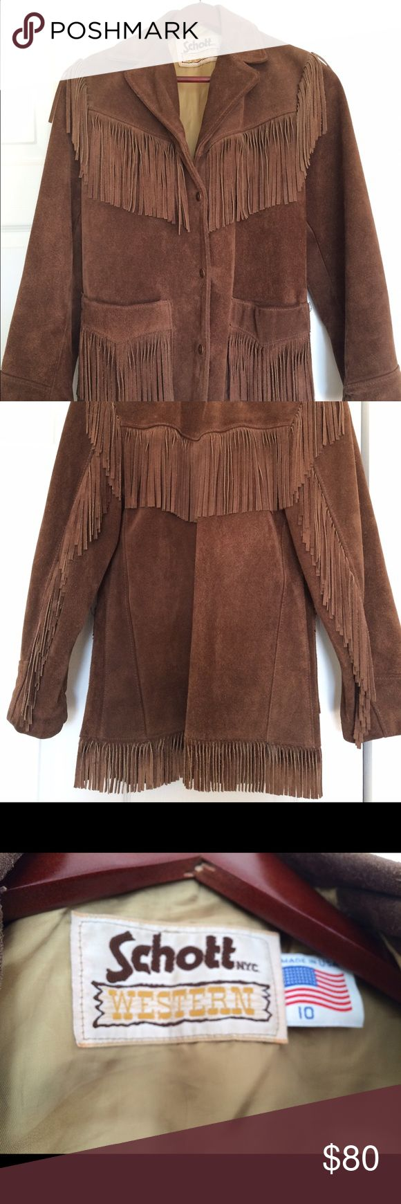 Vintage Fringed Suede Jacket Vintage brown suede jacket with fringe. HEAVY, substantial and well made- excellent condition schott Jackets & Coats