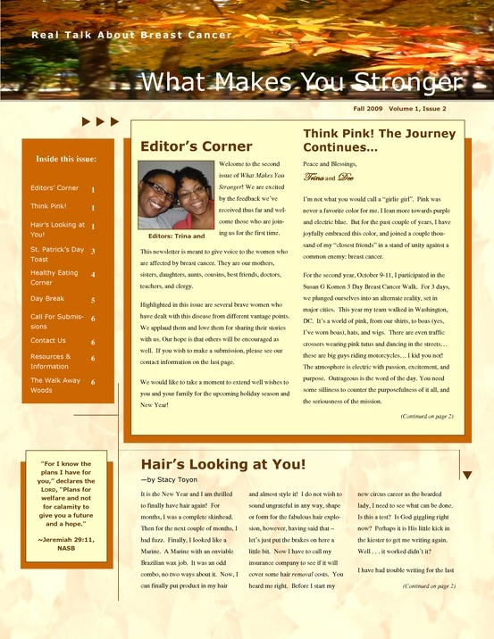 what makes you stronger newsletter fall 2009
