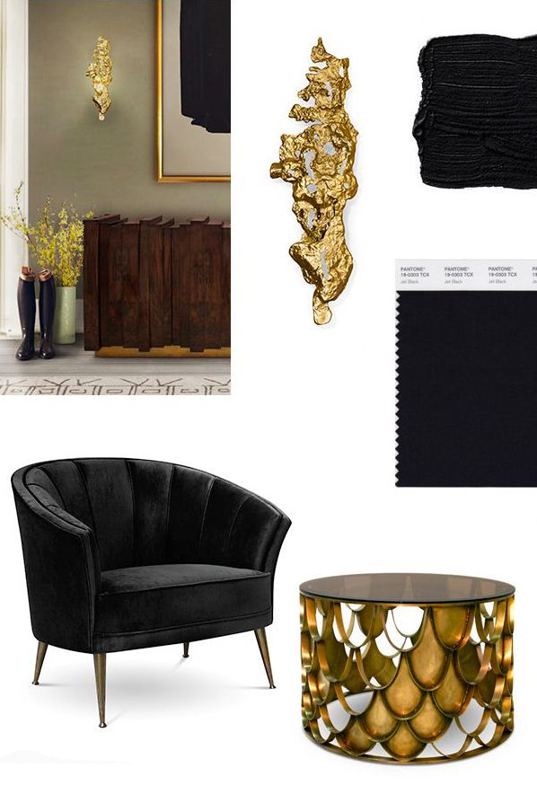 Mood board: gold and black furniture colors. #Moodboarddesign #Moodboardinspiration #fashion moodboads, color, 2016. See more at http://www.brabbu.com/en/inspiration-and-ideas/moodboard/black-gold-mood-board-for-a-stylish-living-room