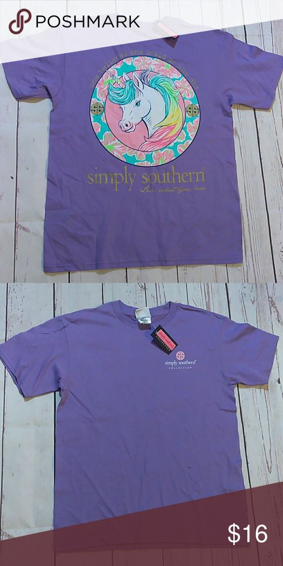 NWT Simply Southern Youth Medium Unicorn Brand new with tags and will ship either day of or next day Simply Southern Shirts & Tops Tees - Short Sleeve