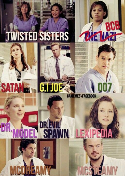 Grey's Anatomy nicknames all of them are perfect! #mcdreamy definitely make me dream @Ellen Page Pompeo