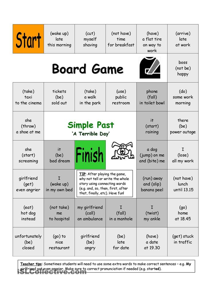 Board Game - A Terrible Day (Simple Past) Repinned by Chesapeake College Adult Ed. We offer free classes on the Eastern Shore of MD to help you earn your GED - H.S. Diploma or Learn English (ESL). www.Chesapeake.edu