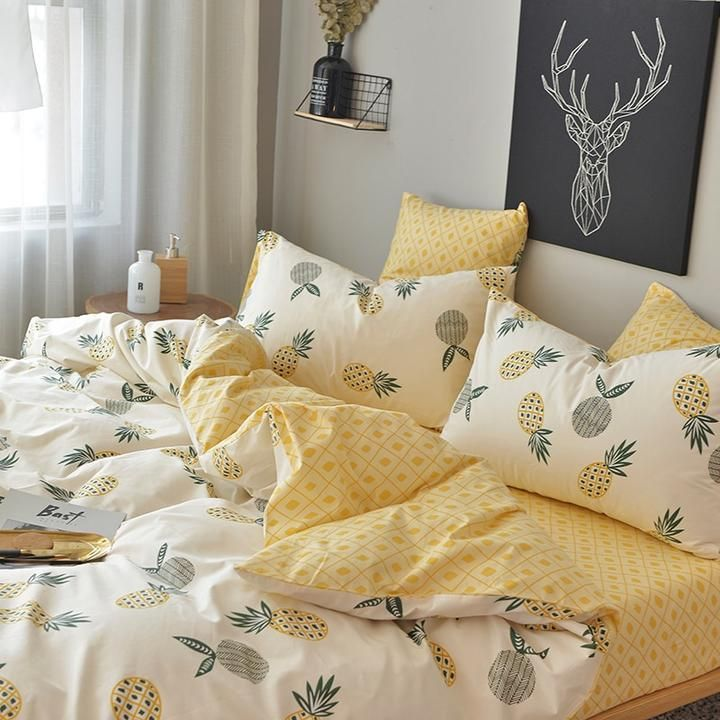 Pineapple Bed Sheet Pillowcase Duvet Cover Sets 100 Cotton Bed Linen Twin Double Queen King Size Bedding Set Cute Bed Sheets Bedroom Design Bedding Sets