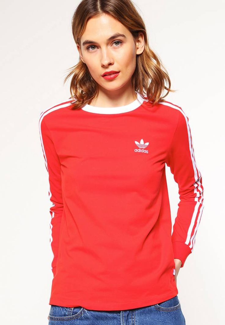 """adidas Originals. Long sleeved top - corred. Our model's height:Our model is 71.0 """" tall and is wearing size 10. Fit:regular. Outer fabric material:93% cotton, 7% spandex. Neckline:round neck. Length:normal. Sleeve length:long,24.5 """" (Size 10..."""