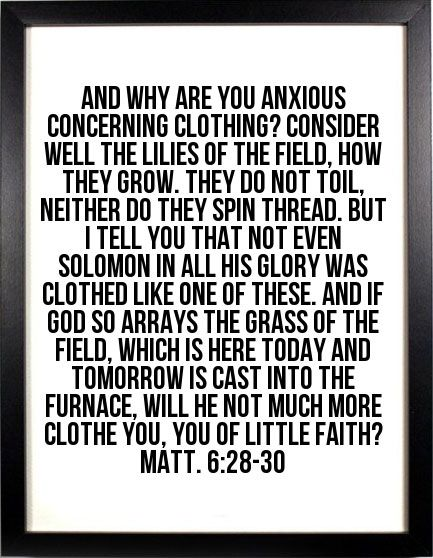 Matt. 6:28-30 And why are you anxious concerning clothing? Consider well the lilies of the field, how they grow. They do not toil, neither do they spin thread. But I tell you that not even Solomon in all his glory was clothed like one of these. And if God so arrays the grass of the field, which is here today and tomorrow is cast into the furnace, will He not much more clothe you, you of little faith? #Bible #Verse #Scripture quoted at www.agodman.com