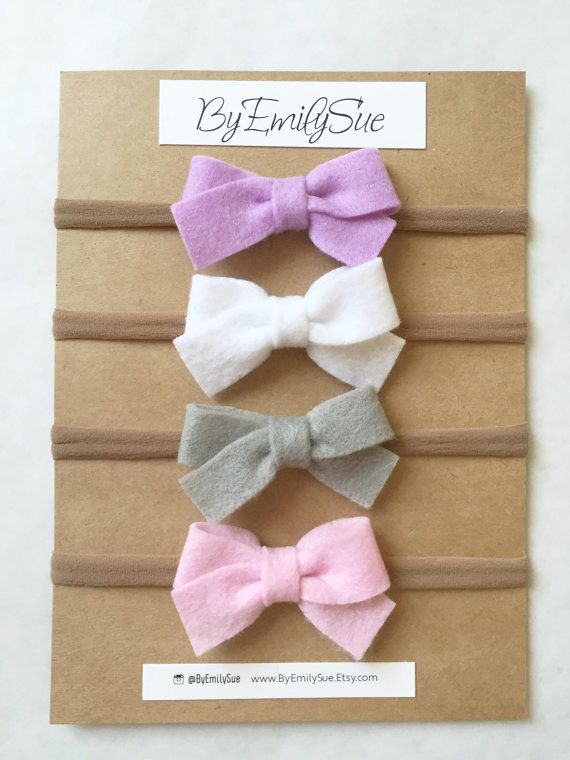 Felt bows on nylon headband baby headband felt by ByEmilySue