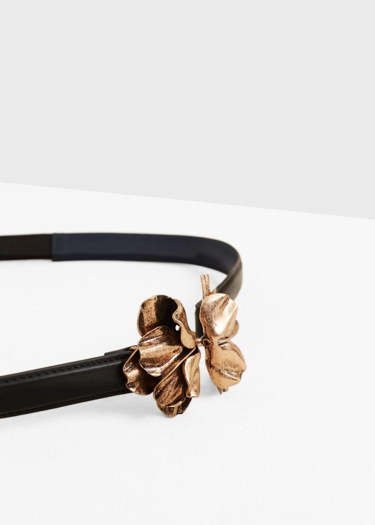 Cinturón fino aplique - Cinturones de Mujer   MANGO España