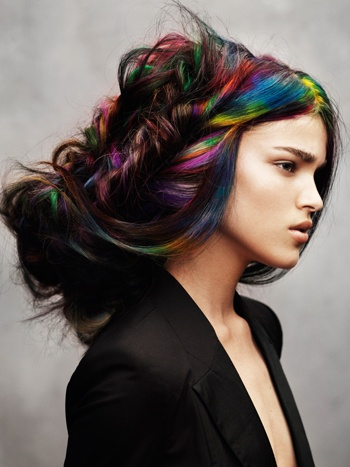 I'd never have the guts but how fabulous is this rainbow streak? Maybe I could pull off a one color streak of a non-traditional color instead. Regardless I love how the streak is woven into her hair like a natural highlight